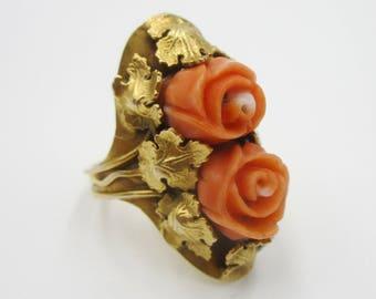Antique vintage 14k gold carved coral ring Size 4