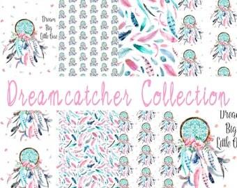 dreamcatcher collection. designer print bedding. crib/toddler bedding. pink & aqua. dreamcatcher. tribal. feathers. dream big little one.
