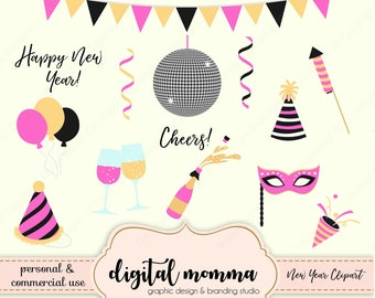 New Year, Celebration Clipart Set, Happy New Year, Cheers, Party Clipart, Personal & Commercial Use, Instant Download!