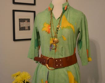 Gorgeous vintage 1970s Evelyn Pearson Small / Medium green caftan kaftan maxi dress