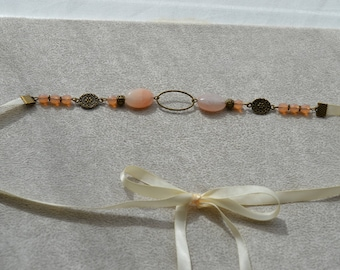 "Headband ""Marion"" Pearl agate and Crystal peach"