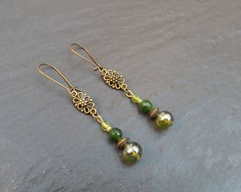 "Earrings ""nature""glass beads, green jade and Crystal """