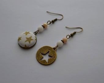 """Earrings dissociated """"stars"""" fabric Liberty, brass, Czech glass, agate"""