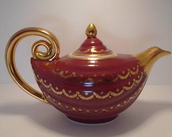Original Vintage Hall Aladdin Gold Label Teapot 0673GL 6 Cup Made in USA