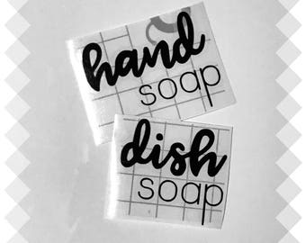 Hand Soap and Dish Soap Vinyl Label, Kitchen Labels, Hand and Dish Soap Vinyl Calligraphy Label, Black Gold or White Label