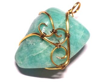 Gold Wire Wrapped Amazonite Pendant