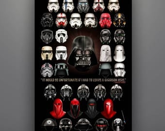 """Star Wars Inspired """"Imperial Composite"""" 11X17 Art Print by Herofied Stormtrooper Helmets Empire Darth Vader"""