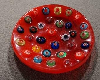 Vintage Italian Venetian Murano Art Glass Multi Colored Millefiori Trinket Dish Tray Home Decor
