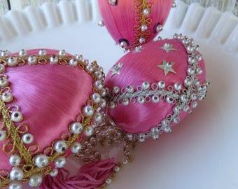 Vintage 50's Christmas Tree Ornaments Shabby Pearls and Silk - Beaded Victorian Christmas Tree Balls