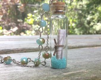Message in a Bottle Necklace, Glass Bottle Necklace, Inspiration Jewelry, Encouragememt Jewelry, Encouragement Gift, Boho Necklace