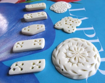Cream Freeform Pendant, Rectangle Bone Bead, White Bone Flower, Multi Hole Pendant, Bone Craft Supply, Criss Cross Pattern, 8 Pcs 07072