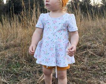 Girls Peplum - Girls Floral Peplum - Girls spring peplum - Girls Top - Girls Floral top - Floral top - baby girls peplum