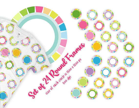 circle frame clipart, colorful border frames, 6 inch clip art, spring summer colors labels clipart, for Easter crafts
