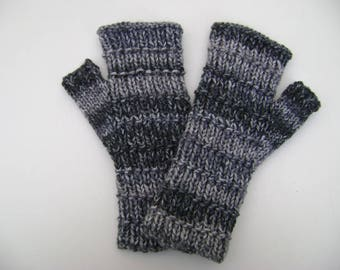 Shades of Grey Fingerless Gloves. Handwarmers. Fingerless Mittens. Hand Knit.