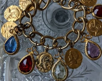 60s Coin & Colorful Open Stone Charm Bracelet