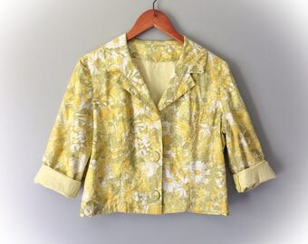 Vintage 1950's Dress Jacket Cropped Floral Yellow Green Spring Summer 3/4 Sleeve Cotton Blazer Lightweight Daisy Flower Print Size Large 12