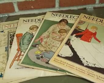 Needlecraft Magazine-- Set of Four Vintage 1920's Needlecraft Magazines