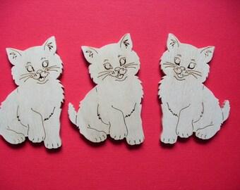 3 Cats, wood, 7 x 5 cm  (10-0016A)