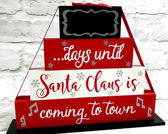 christmas countdown blocks sleeps until santa days until christmas countdown to christmas father christmas plaque christmas countdown sign