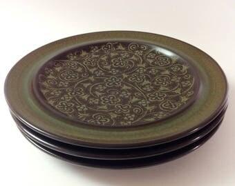 4 Franciscan Madeira Dinner Plates, Dark Brown, Olive, Avocado Green California Pottery Dinner Plates, Set of 4