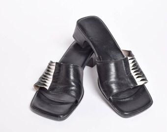 Vintage 90's Black Leather Slipper Sandals
