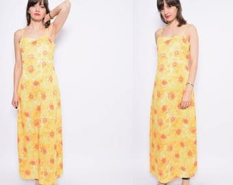 Vintage 90's Daisy Print Yellow Maxi Dress / Floral Yellow Strappy Dress / Yellow Long Sundress - Size Large