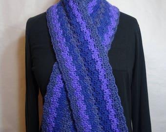 Blueberry Waves Crochet Scarf