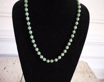 Vintage Moss Green Jade 8mm Bead Necklace