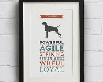 SALE 20% OFF Weimaraner Dog Breed Traits Print