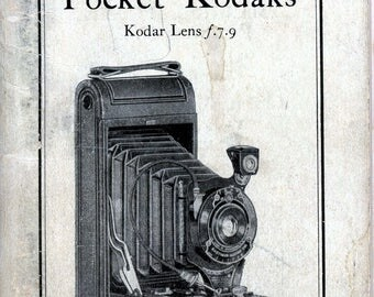 """1926 Kodak Manual, """"Picture Taking With The Nos. 1 and 1A Pocket Kodaks"""""""