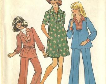 Simplicity 7105 Girls Smock Top Dress Pants Belt Vintage 1970s Sewing Pattern Size 7