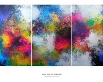 ABSTRACT triptych by artist Alex Senchenko. Contemporary ART. Modern, abstract painting , abstract wall art . original painting . Abstract .
