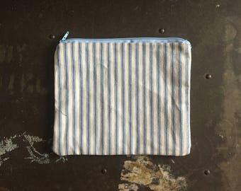 Simple stripe small zipper pouch, coin purse, makeup bag, cotton fabric zipper bag, art bag, blue and white stripes