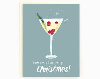 Holiday Drink Recipe Card - Saketini - Have a (rose)merry Christmas!
