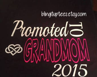 Promoted to Grandmom Tshirt, VNeck Tee, Crew Neck Tee, Women's Curvy, Plus Sizes 14/16-26/28