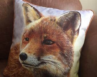 Stunning cushion of my WILD FOX oil painting, 43x43cm