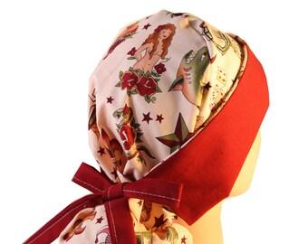 Surgical Scrub Hat Scrub Chef Vet Chemo Cap Front Fold Ponytail Scrub Hat Tattoo Flash Dark Red 2nd Item Ships FREE