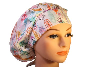 Scrub Cap Surgical Hat Chef   Dentist Hat Tie Back Bouffant Pastel Feathers 2nd Item Ships FREE