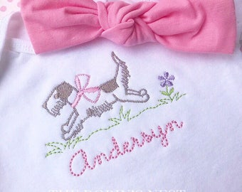Running Puppy with Pink Bow Baby Girl Bodysuit (Headband with bow NOT included)