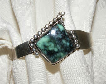 Amazing Smokey Turquoise & Sterling Silver Cuff Bracelet by Abrams