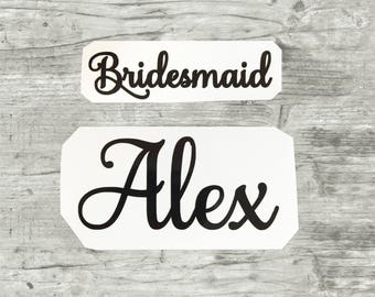 Bridesmaids Decals, Bridal Party Decals, Personalized Wedding Presents Gifts Toast