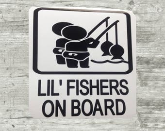 Custom Car Decal Fishing Boating Kids Decals Lil Fisher on Board
