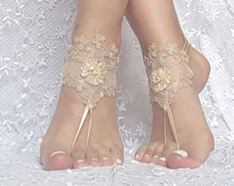 3D flower rustic beach wedding barefoot sandals prom party bridal shoe foot accessories ankle bangle rustic wedding bohemian flower