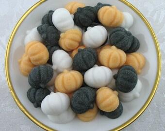 45 Mini Pumpkin Shaped Sugar Cubes for Halloween, Tea Party, Party Favor