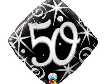 "50 silver and black 17"" foil balloon, 50th birthday, party decoration, FAST SHIP"
