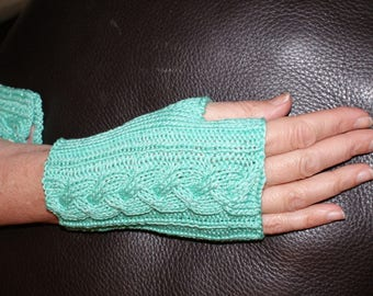 Fingerless gloves women, mid-length, green coconut cotton / iridescent