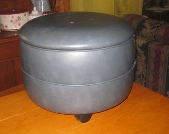 Vtg Slade Blue 20 in round 14 in Height Vinyl  Hassock Foot Ottoman lift top for storage on rollers Danish Modern American