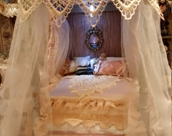 Deposit only on custom made 1/12th scale dollhouse miniature canopy bed with lighting. Our Captains Lady collection payment plan available