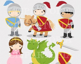 50% OFF SALE Knights and Dragon Digital Clipart / Digital Clip Art For Personal and Commercial Use/INSTANT Download