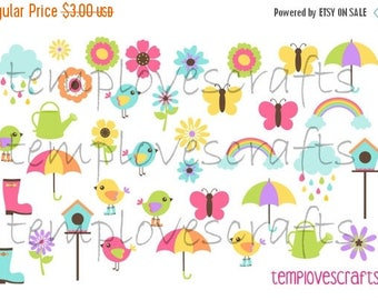 Weekend Sale April Showers Bring May Flowers Clipart Set for ECLP, happy planner, filofax, plum paper planner, kikki k or any planner